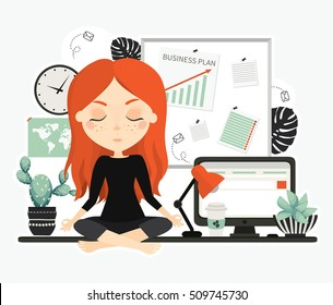 Businesswoman. Cute beautiful young woman at work. Office worker. Desktop. Workplace with note board, lamp, coffee, cacti and computer. Cute vector illustration.