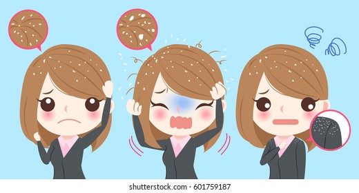 businesswoman with dandruff problem