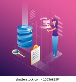 businesswoman with data center network icons