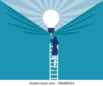 Businesswoman discover best ideas . Concept business vector illustration.