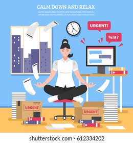 Businesswoman doing meditation on chair near computer boxes and documents on blue wall background flat vector illustration