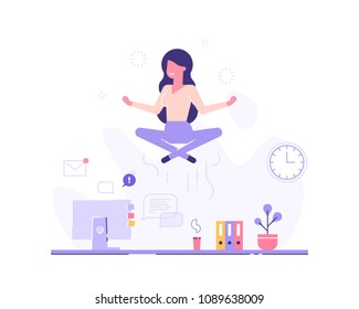 Businesswoman doing yoga to calm down the stressful emotion from hard work in office over desk with office process icons on background. Concept of meditation. Modern vector illustration.