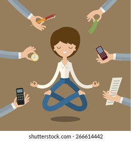 Businesswoman doing Yoga to calm down the stressful emotion from multi-tasking and very busy working.