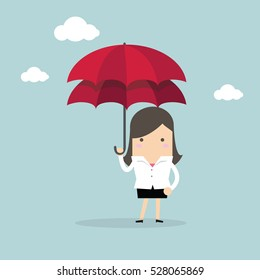 Businesswoman with double umbrella, Business Concepts