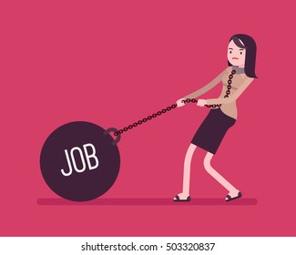 Businesswoman dragging a giant heavy weight on chain, written Job on a ball. Cartoon vector flat-style concept illustration