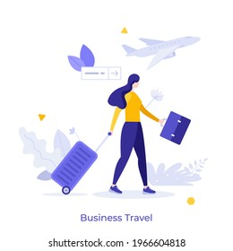 Businesswoman or entrepreneur carrying suitcase hurries to board departing aircraft. Concept of business travel or tourism, work in trip. Modern flat colorful vector illustration for banner, poster.