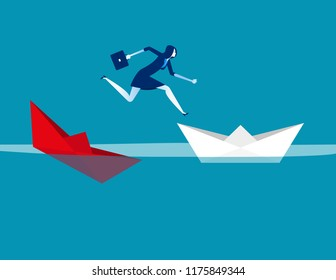 Businesswoman escaping sunken paper boat ship. Concept business vector illustration, Flat character design, Cartoon business style.