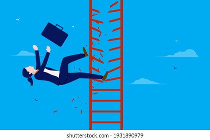 Businesswoman falling off the corporate ladder - Business failure and missed opportunity concept. Vector illustration.