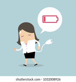 Businesswoman feeling tired and low power battery. Vector