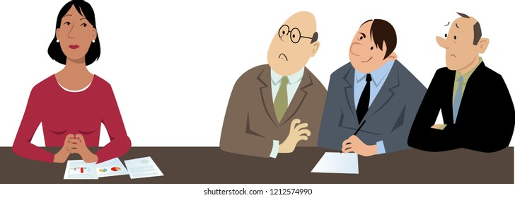 Businesswoman feels isolated and excluded from a group of her male co-workers, EPS 8 vector illustration