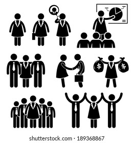 Businesswoman Female CEO Stick Figure Pictogram Icon Cliparts