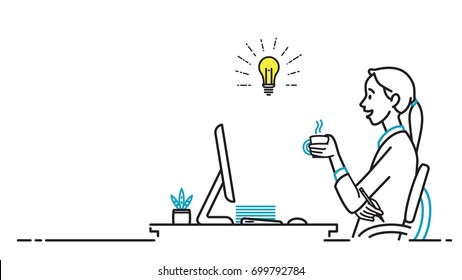Businesswoman, female office worker, sitting, happy and smiling, holding and drinking hot coffee, thinking and getting idea. Outline, thin line art, linear, hand drawn sketching style, simple design.