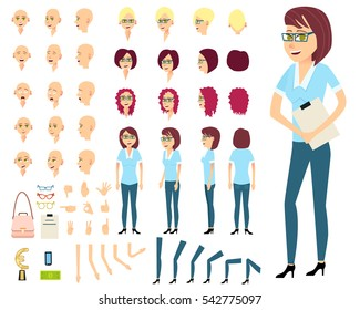 Businesswoman or female person constructor.Set of various emotions on pretty feminine face.Different women's hairstyles,bended hands, legs.Side view,front,back of woman.Vector elements for animation