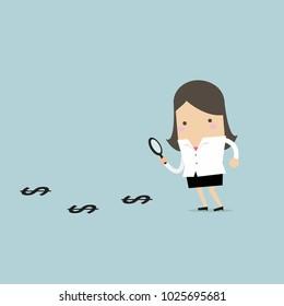 Businesswoman finding money. vector