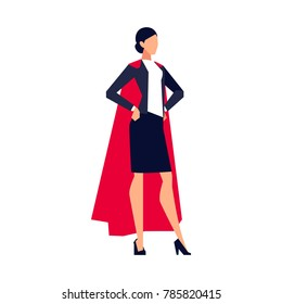 Businesswoman in a flat style isolated on white background.  Office worker in the cloak of a superhero. Vector illustration.