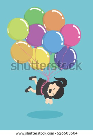 ab272342752 Businesswoman Flying Balloons Over Stock Vector (Royalty Free ...