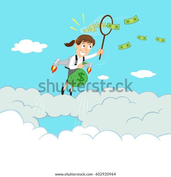 Businesswoman Flying Jetpack Catch Flying Money Stock Vector