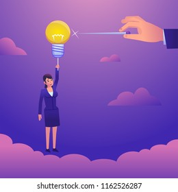 Businesswoman flying on idea balloon, hand holds needle ready to pierce the balloon. Business intervene, obstacles, steal idea. Colorful style vector illustration