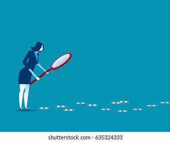 Businesswoman following trail of money. Concept business finance vector illustration.