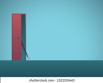 Businesswoman with foot in the door vector concept. Symbol of determination, opportunity, aspirations. Eps10 vector illustration.