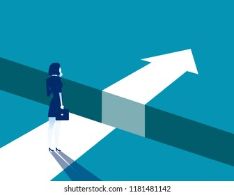 Businesswoman and gap on way to success, Concept business solving problem vector illustration, Flat business character, Cartoon style design.