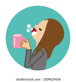 Businesswoman gargling with water for prevent cold - Circular icon