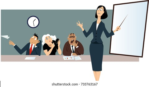 Businesswoman giving a presentation in front of a bored distracted colleagues, EPS 8 vector illustration