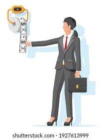 Businesswoman and hank of toilet paper dollar money. Garbage waste investment. Losing or wasting money, overspending, bankruptcy or crisis. Vector illustration in flat style