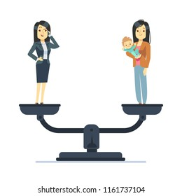 Businesswoman and happy woman kid on scales. Work and life balance business vector concept. Balance business life and family with kid illustration