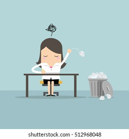 Businesswoman have no idea and throwing crumpled paper to trash. vector