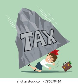 Businesswoman with heavy taxes, illustration vector cartoon