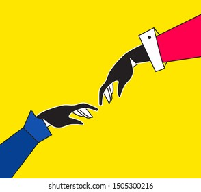 Businesswoman helping each other, lend  helping hand and support, sisterhood. Vector illustration