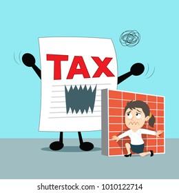Businesswoman hides herself from tax, illustration vector cartoon