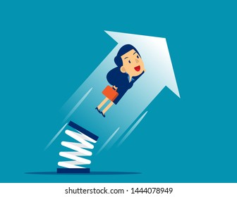 Businesswoman high jump with springboard. Concept business growth vector illustration, Flat cartoon character style design.