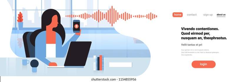 businesswoman hold phone intelligent voice personal assistant recognition soundwaves technology concept office interior background artificial intelligence horizontal banner copy space flat vector