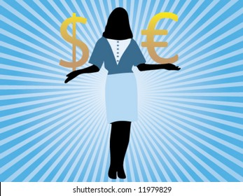Businesswoman holding in her hands euro and dollar