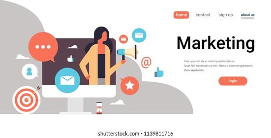 businesswoman holding megaphone marketing concept online messenger chat bubble communication icon horizontal copy space flat vector illustration