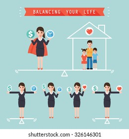 Businesswoman holding money dollar sign and time balancing with family at home. Idea balance your life business concept. Flat design people characters.