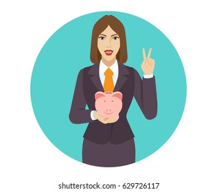 Businesswoman holding a piggy bank and showing victory sign. Two finger up. Portrait of businesswoman character in a flat style. Vector illustration.
