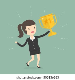 Businesswoman Holding a Trophy. Business Concept Cartoon Illustration.