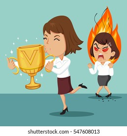 Businesswoman holding a trophy cup and other woman is envious, vector illustration cartoon