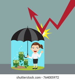 Businesswoman holding umbrella protecting graph down, illustration vector cartoon