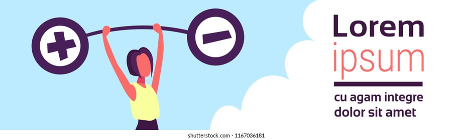 Businesswoman holding weights balance scales plus minus sign debt loan crisis concept positive negative debit credit female cartoon character flat horizontal banner copy space vector illustration