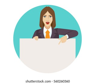Businesswoman holding white blank poster and pointing at banner over white.  Portrait of businesswoman in a flat style. Vector illustration.