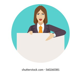 Businesswoman holding white blank poster and showing blank signboard.  Portrait of businesswoman in a flat style. Vector illustration.