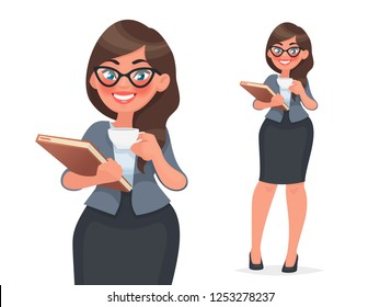Businesswoman holds a cup of coffee and a folder with files. Woman in business clothes, employee of the company. Vector illustration in cartoon style