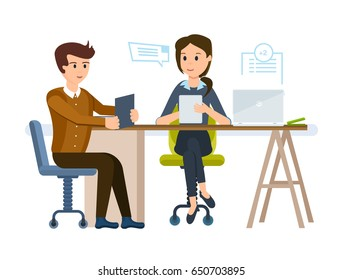 Businesswoman HR gets acquainted with young man's resume, conducts an interview on employment, exchanges information, looks at possibilities of candidate. Vector illustration cartoon isolated