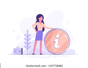 Businesswoman and info sign. Information, FAQ, notice and advertisement concept. Banner for web page. Modern vector illustration.