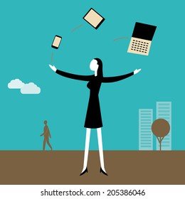 Businesswoman juggling  with technology and multitasking