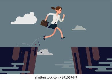 Businesswoman jumping over abyss. Cool vector concept illustration on overcoming obstacles in career or business with running business lady jumping over abstract precipice